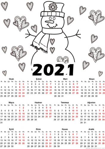 2021 Okul Öncesi Takvim Örnekleri