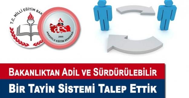 Anadolu Eğitim Sendikası: Milli Eğitim Bakanlığından, Adil ve Sürdürülebilir Bir Tayin Sistemi Talep Ettik