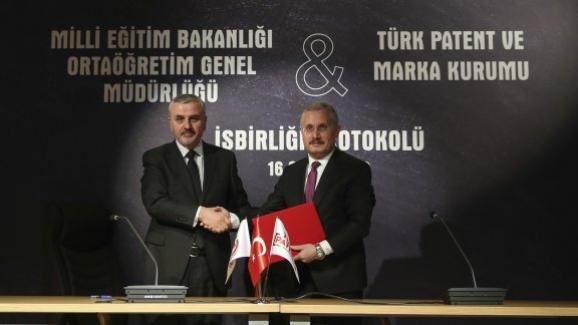 MEB Ortaöğretim Genel Müdürlüğü ile Türk Patent ve Marka Kurumu arasında iş birliği protokolü imzalandı.
