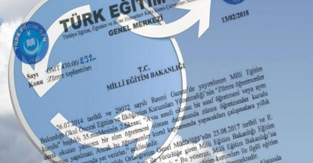 Türk Eğitim Sen: Milli Eğitim Bakanlığından, Zümre Yönergesi İle İlgili Değişiklik Talebinde Bulundu