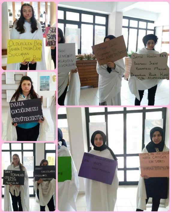 8 Mart Dünya Kadınlar Gününde Öğrenciler Kadına Yönelik Şiddete Dikkat Çekmek İçin Çalışma Yaptı