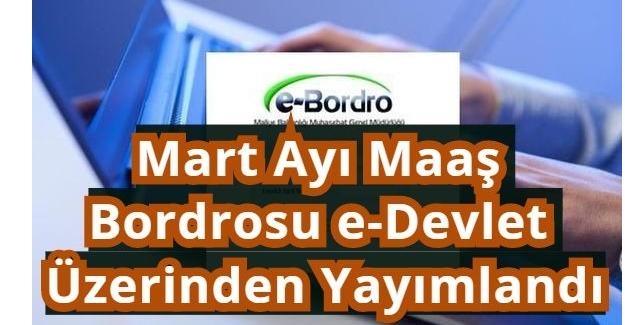 Mart Ayı Maaş Bordrosu e-Devlet üzerinden Yayımlandı