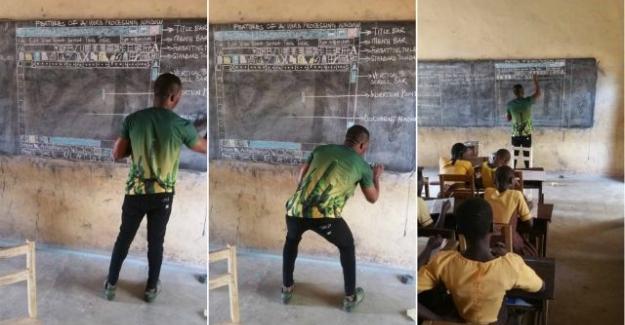Tahtaya Çizdiği Microsoft Ekran Görüntüsüyle Tanıdığımız Ganalı Öğretmen ve Öğrencilerinin Artık Bilgisayarları Var