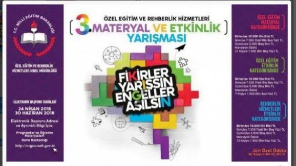 Milli Eğitim bakanlığı: Özel Eğitim ve Rehberlik Hizmetleri Materyal ve Etkinlik Yarışması başvuruları başladı
