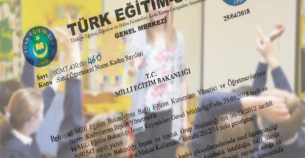 Türk Eğitim Sen MEB'den: Norm Kadro Fazlası Sınıf Öğretmeni Sayısının Azaltılmasını İstedik