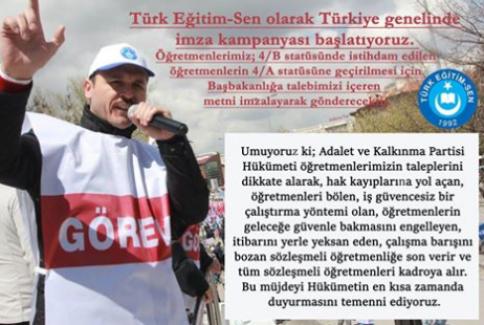 Türk Eğitim Sen:Sözleşmeli Öğretmenlerin Kadroya Alınması İçin İmza Kampanyası Başlattı
