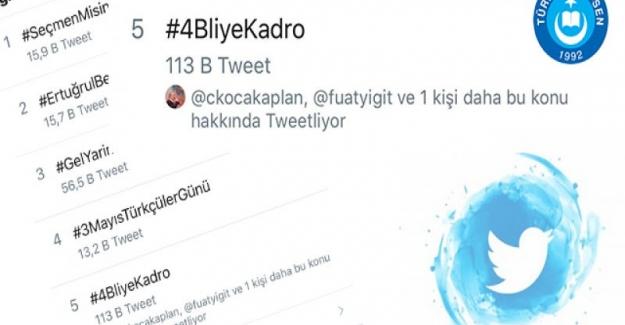 Türk Eğitim Sen Genel Başkanı Talip Gelyan'ın dün başlattığı . #4BliyeKadro etiketi trend topic listesine girerek sosyal medyayı salladı.