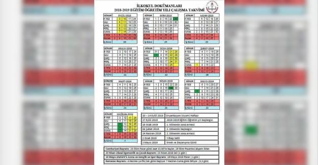 Milli Eğitim Bakanlığı 2018-2019 Eğitim Öğretim Yılı Çalışma Takvimi