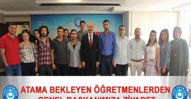 Atama Bekleyen Öğretmenlerden Türk Eğitim Sen Genel Başkanı Talip Gelyan'a Ziyaret