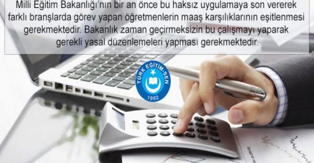 Türk Eğitim Sen: Farklı Branşlarda Görev Yapan Öğretmenlerin Maaşları Eşitlenmelidir