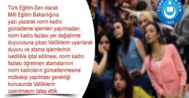 Türk Eğitim Sen: Norm Kadroları Güncellenmeden Öğretmen Atamaları Yapılmamalıdır