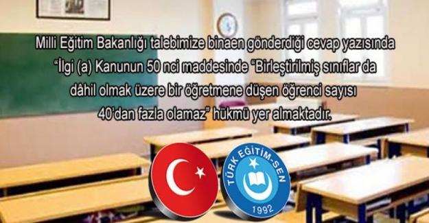Sınıf Mevcudu 40 Öğrenciyi Geçemeyecek