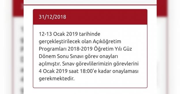 AÖF Sınav Onayları Açıldı