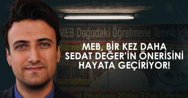 MEB, bir kez daha Sedat Değer'in önerisini hayata geçiriyor
