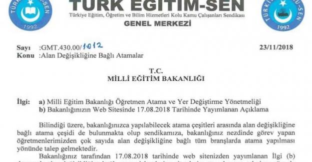 Türk Eğitim Sen'in Alan Değişikliğinde Branş Sınırlaması Yapılmaması Talebi Kabul Edildi