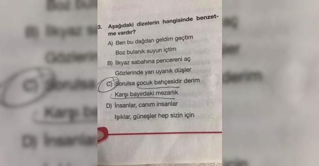12 yaş çocuğu için neşeli bir şeyler hazırlasanız daha güzel olmaz mıydı yahu! Çocuk bildiğin korkuyor Türkçe testi çözmeye.