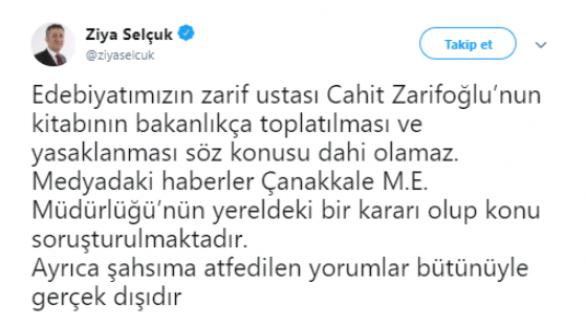 Milli Eğitim Bakanı Ziya Selçuk, Toplatılan Kitap Hakkında Açıklama Yaptı.
