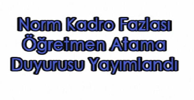 Milli Eğitim Bakanlığından 2019 Yılı Ocak Ayı Norm Kadro Fazlası Öğretmenler Atama Duyurusu