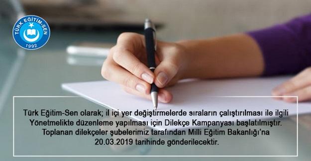 Türk Eğitim Sen: Sıra Tayinlerinin Çalışması İçin Dilekçe Kampanyası Başlattı