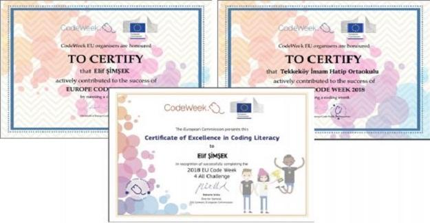 Kodlama haftası katılım sertifikamız mükemmelik etiketiyle taçlandı
