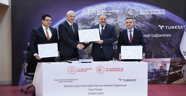 MEB ve TÜRKSAT arasında imzalanan sözleşme ile okullara uydu üzerinden internet sağlanacak