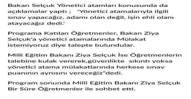 Milli Eğitim Bakanı Ziya Selçuk Duyurdu: Yönetici Atama Mülakatlarında Sınav Puanın Aynısı Verilecek