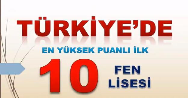 Türkiye'deki En Yüksek Puanlı İlk 10 FEN LİSESİ