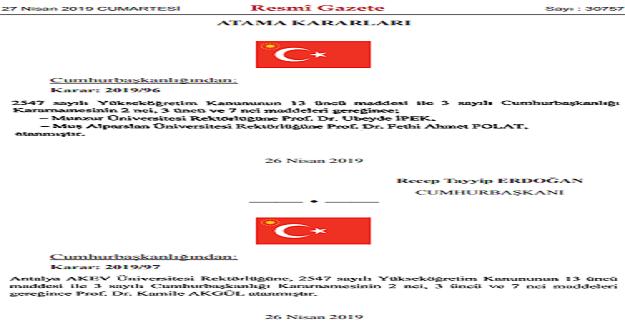 Cumhurbaşkanı Erdoğan'dan 5 Üniversiteye Rektör Ataması