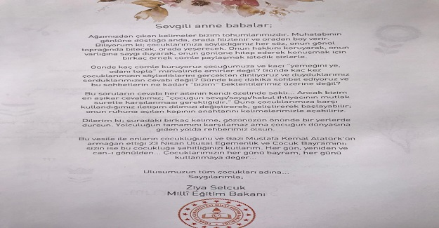Milli Eğitim Bakanı Ziya Selçuk'tan Tüm Velilere Mektup