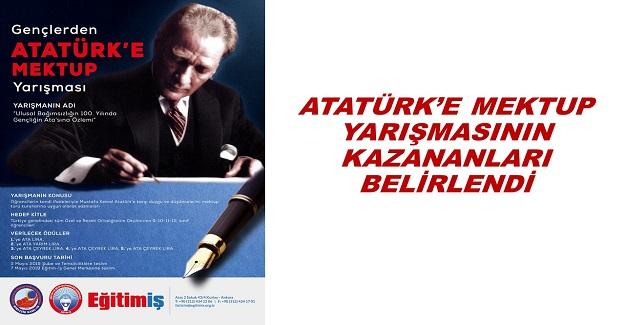 ATATÜRK'E MEKTUP YARIŞMASININ KAZANANLARI BELİRLENDİ
