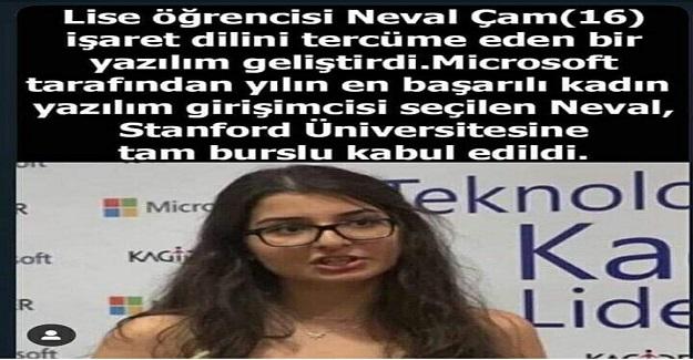 Lise öğrencisi Neval Çam'ın işitme engelliler için geliştirdiği işaret dili tercüme yazılımı oldu .
