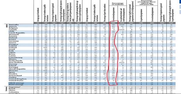 OECD 2018 Eğitime Bakış raporuna göre ortaöğretim öğrencileri arasında mesleki eğitim devam eden öğrenci oranları.