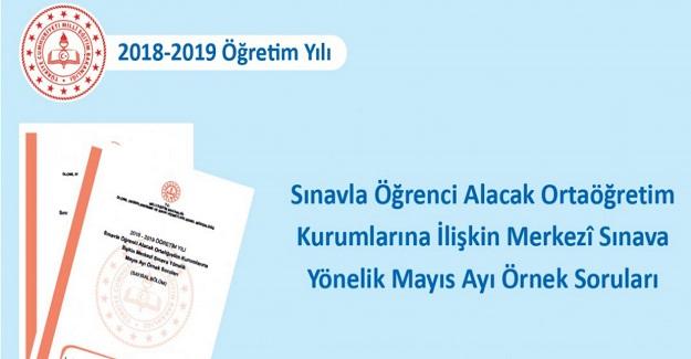 Ortaöğretim Kurumlarına İlişkin Merkezî Sınava Yönelik Mayıs Ayı Örnek Soruları Yayımlandı