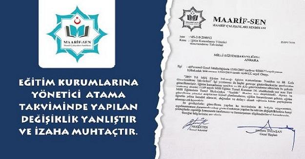 Yönetici Atama Takviminde Yapılan Değişiklik İzaha Muhtaçtır.