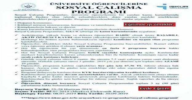 İŞKUR Üniversite öğrencileri için yazın çalışma imkanı sunan Sosyal Çalışma Programı açıkladı.
