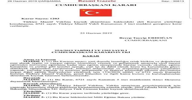 MEB Bütçesinden Her Yıl 542 Milyon TL Türkiye Maarif Vakfı'na Aktarılacak