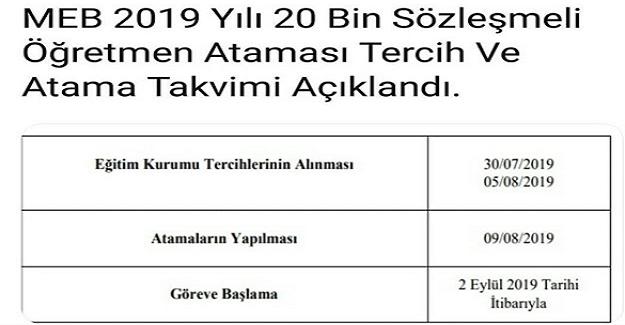 Öğretmen ataması tercihleri 30 Temmuz'da başlayacak ve 5 Ağustos 2019 tarihinde sona erecek.