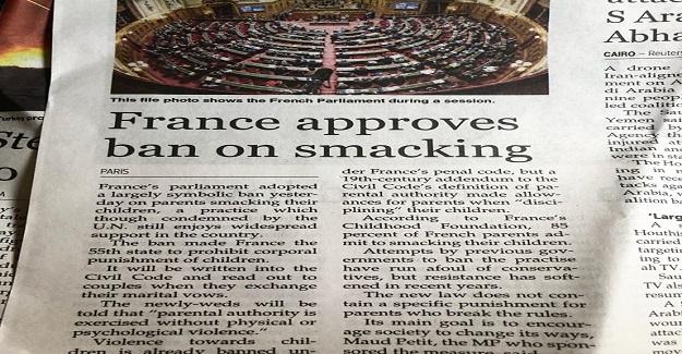 """Fransa'da iki gün önce bir yasa onaylandı. Çocuklara """"şaplak atmak"""" yasaklandı."""