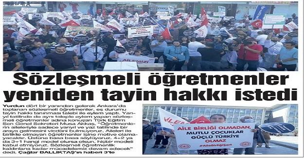 Sözleşmeli öğretmenler, 26 Temmuz'da Ankara'da eş durumu mağduriyetinin çözülmesi için eylem yaptı.