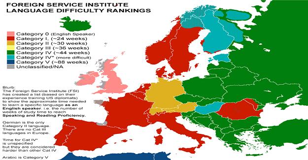 Yabancı Dil Öğrenmenin Ne Kadar Sürdüğünü Gösteren Bir Harita