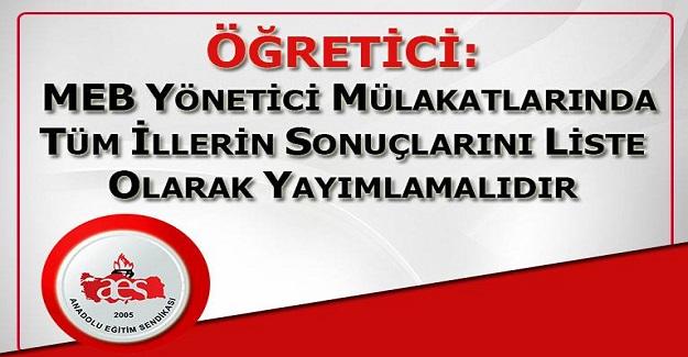 Mehmet Alper Öğretici: MEB Yönetici Mülakatlarında Tüm İllerin Sonuçlarını Liste Olarak Yayımlamalıdır