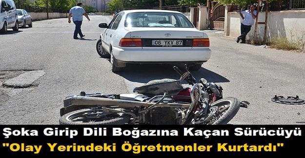 """Şoka Girip Dili Boğazına Kaçan Sürücüyü """"Olay Yerindeki Öğretmenler Kurtardı"""""""