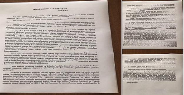 TRABZON Milli Eğitim Müdürlüğünün keyfi, hukuksuz uygulamalarını Genel Merkezimiz vasıtası İle Milli Eğitim Bakanlığına şikayet ettik....
