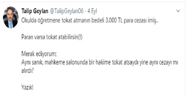 Öğretmene tokat atmanın cezası 3 bin lira !