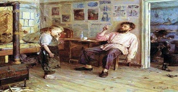Usta bir ressamın öğrencisi eğitimini tamamlamış. Büyük usta, öğrencisini uğurlamış.