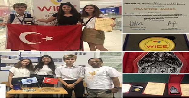 Malezya'da düzenlenen Dünya Buluş Yarışması'nda Altın madalya kazanan öğrencilerimiz Selin ÖZGÜVEN ve Kerem DİLBAZ'
