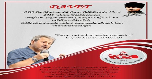 15. Başöğretmenlik Onur Ödülümüz Prof. Dr. Necati CEMALOĞLU' na