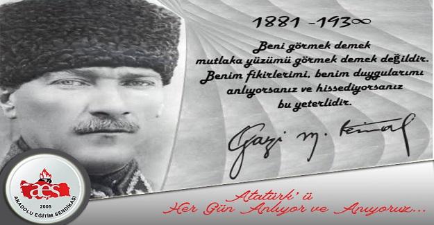 Atatürk'ü Her Gün Anlıyor ve Anıyoruz Yıl 1938…Günlerden 10 Kasım…