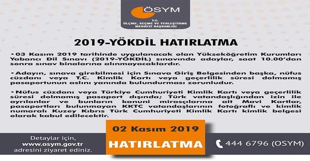 ÖSYM'den 2019-YÖKDİL Adaylarının Dikkatine!
