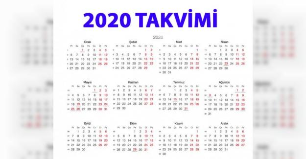 2020 takvimi. Resmi tatiller ve bayram tarihleri ne zaman